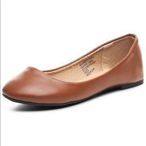 Camel tan leather flats
